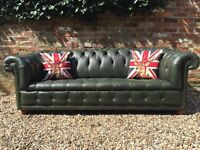 Button base green leather Chesterfield sofa. Can deliver