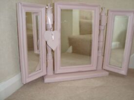 Wooden free standing triple dressing table mirror painted in Annie Sloan pale pink