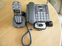 Amplicomms PowerTel 980 Combo Desk and Cordless Telephone with wearable alarm. Very Good Condition