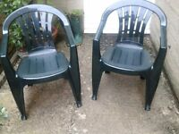 Pair of green garden chairs, excellent condition.
