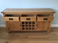 Oak 3 Drawer 2 Door Wine Sideboard
