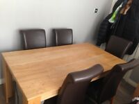 DINNING TABLE + 5 LEATHER CHAIRS