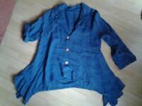 ausgefallene jeansblaue Jacke mit Volants neuwertig Gr. XXL Hessen - Seligenstadt Vorschau