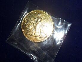 victoria gold tone coin / medalion