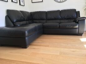 Black Leather Corner Sofa Unit