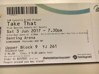 For Sale - Take That Tickets, Birmingham. Sat 3rd June
