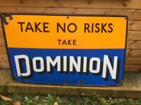 Dominion enamel advertising sign