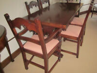 Dark Oak Dining tTable annd Chairs