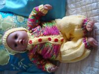 """NEW BABY ANNABELL BOY OR GIR L19"""" HAND KNITTED CLOTHES, HAT, TROUSERS, CARDY, BOOTS NO DOLL"""