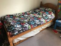 Single bed with Guest pine bed pull out below