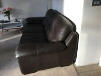3 Seater Brown Leather Sofa REDUCED FOR QUICK SALE