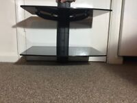 Black Floating Double Glass Shelves Wall Mount Bracket Stand DVD.