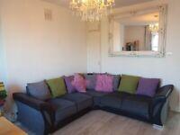 For Sale: Comfy fabric large Grey/Black corner sofa