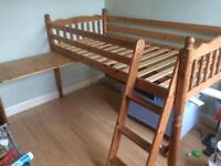 Pine cabin bed with pull out desk