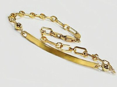 Unique Gold ID anklet chain Genuine 1/20 -14K gold filled 9 inch anklet bracelet