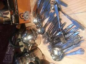 HEAVY CUTLERY 2 SETS STAINLESS STEEL