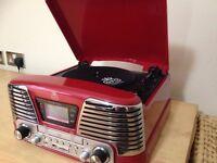 GPO MEMPHIS RECORD PLAYER + MUSIC CENTRE, RED, GREAT CONDITION INCL ORIGINAL BOX