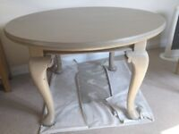 Solid, round, family dining table - mahogany table painted in neutral colour