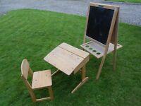 Childs School Desk, Chair + Blackboard