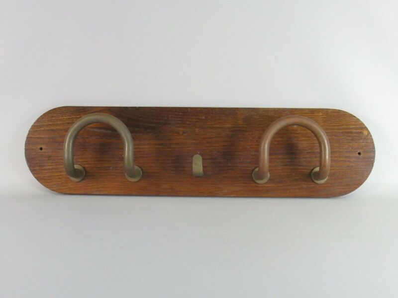 Antique Hanger Wall Wooden And Brass Design Art Deco