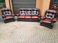 Chesterfield genuine oxblood leather 3 piece suite. EXCELLENT CONDITION!BARGAIN!