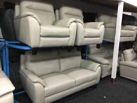 New/Ex Display John Lewis Saddler Grey Leather 3 + 1 + 1 Seater Sofas