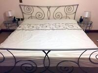 Super King size metal bed , matching side tables and mattresses for sale in as new condition !£120