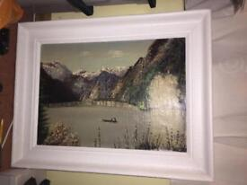 Medium sized signed painting signed by D Heinz 1959 with white wooden frame!!!