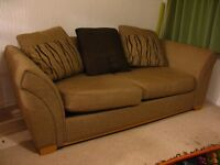 Sofa Bed DFS - brown with 3 cushions. Folds out to double bed.