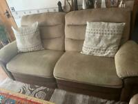 2-3 seater sofa electric recliner beige brown
