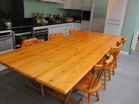 Huge Pine Dining Table and 6 Pine Chairs
