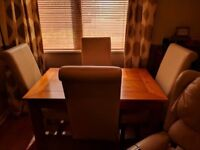 Solid Oak Table and 4 Real Leather Chairs