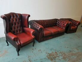 ANTIQUE OXBLOOD CHESTERFIELD SET LOUNGE SUITE 3 SEATER SOFA SETTEE CLUB CHAIR WINGBACK ARMCHAIR