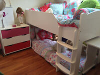 ASPACE Raised single bed with dresser and desk