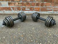 FREE DELIVERY TWO IRON 11KG DUMBELLS