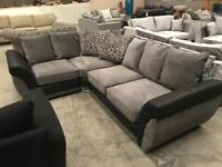 Brand new grey and black corner sofa