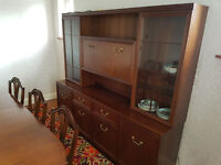 Beautiful wooden sideboard side unit with lighting and glass shelves