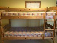 WOODEN / PINE BUNK BEDS, WITH GOOD MATTRESSES, NO LONGER NEEDED