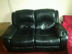 Genuine black leather fully reclining sofa