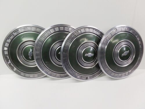 """4 1970 CHEVY CAPRICE MONTE CARLO 15"""" GREEN HUBCAPS - 70 HUB CAPS GOOD USED OEM"""