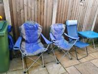 Eurohike blue camping chairs