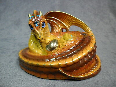 Windstone Editions * Brown Mother Coiled Dragon * Figurine Magic Statue Mythical