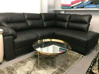 BLACK LEATHER CORNER SOFA SETTEE COUCH