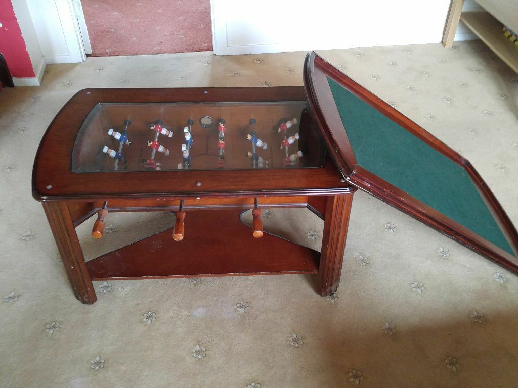 Wooden Games Coffee Table With Table Cover Football Game