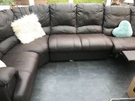 Brown leather sofa , nice condition. FREE to collector