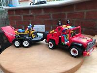 Vintage 1992 Playmobil Jeep, Trailer, Trials Bikes and Riders (3754)