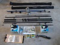 FOR SALE 2 SEA FISHING RODS, REELS,DUAL ROD STAND AND EXTRAS.