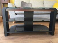 Glass and walnut TV stand