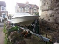 Speed boat with trailer.Fletcher GTO 85 HP Mercury (blue line).Good condition.