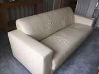 2 ivory leather sofas